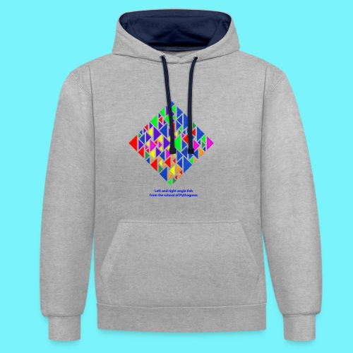 Left and right angle fish, school of Pythagoras - Contrast Colour Hoodie