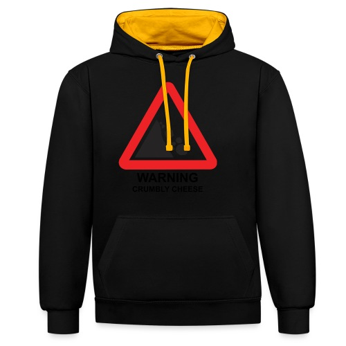 WARNING: CRUMBLY CHEESE - Contrast Colour Hoodie