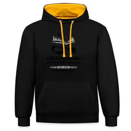 Rocky Mountain Nationalpark Berg Bison Grizzly Bär - Contrast Colour Hoodie