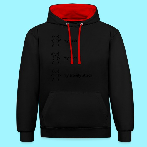 neck back anxiety attack - Contrast Colour Hoodie