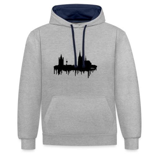 Skyline Köln - Schwarz - Kontrast-Hoodie
