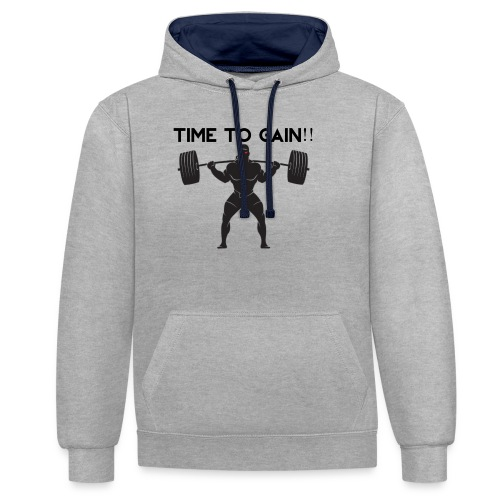 TIME TO GAIN! by @onlybodygains - Contrast Colour Hoodie