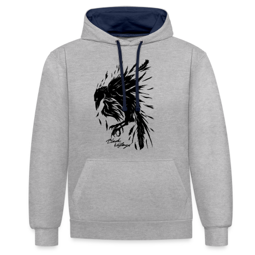raven_tribal - Kontrast-Hoodie