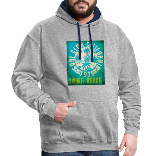 Long Beach Surf Club California 1976 Gift Idea - Contrast Colour Hoodie