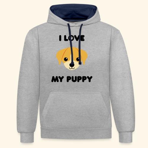 Love my puppy - Sweat-shirt contraste