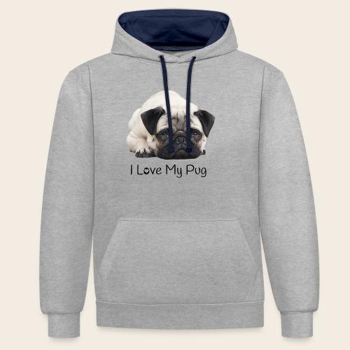 love my pug - Kontrast-Hoodie
