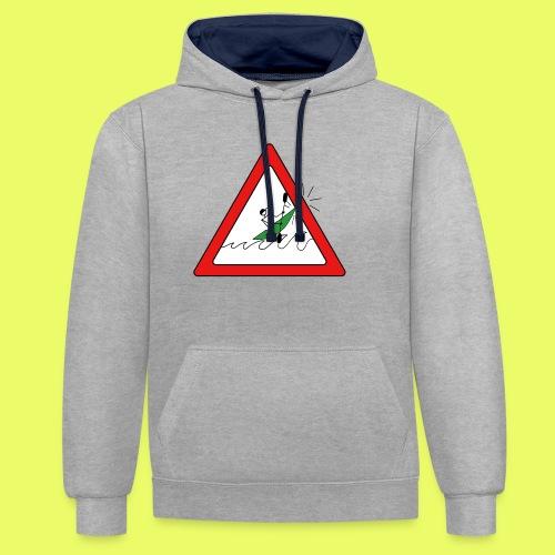 Kajak Unfall im Dreieck - Kontrast-Hoodie