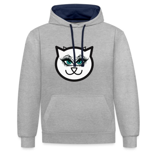 Hipster Cat Girl by T-shirt chic et choc - Sweat-shirt contraste