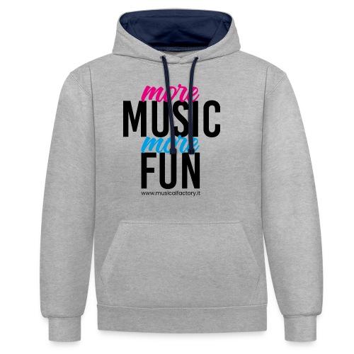 More Music More Fun - Felpa con cappuccio bicromatica
