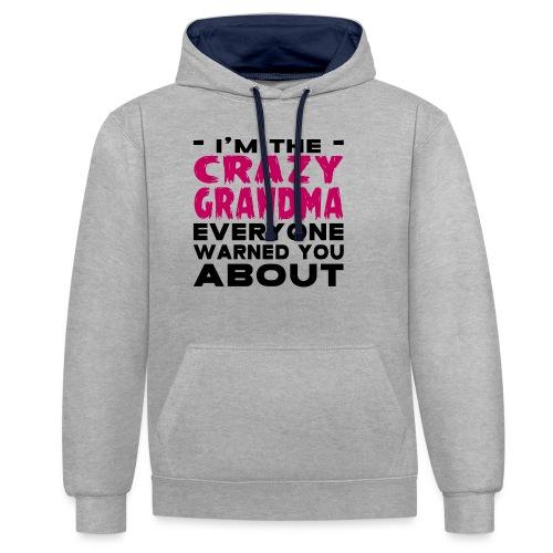 Crazy Grandma - Contrast Colour Hoodie