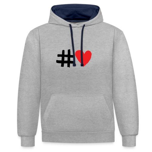 #Love - Kontrast-hættetrøje