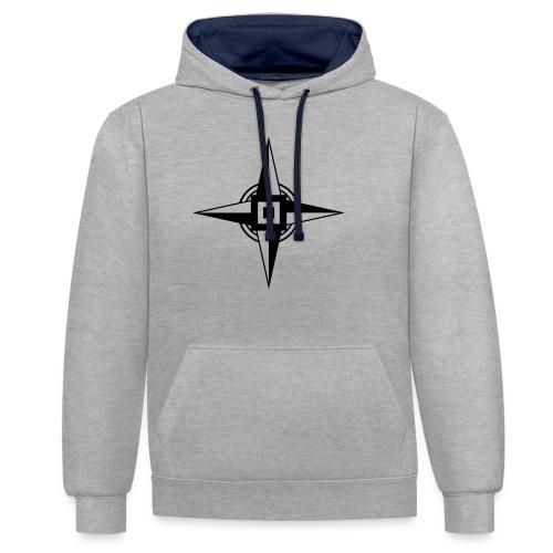 Erdenstern, Symbol, Vierzackiger Stern, Windrose - Kontrast-Hoodie