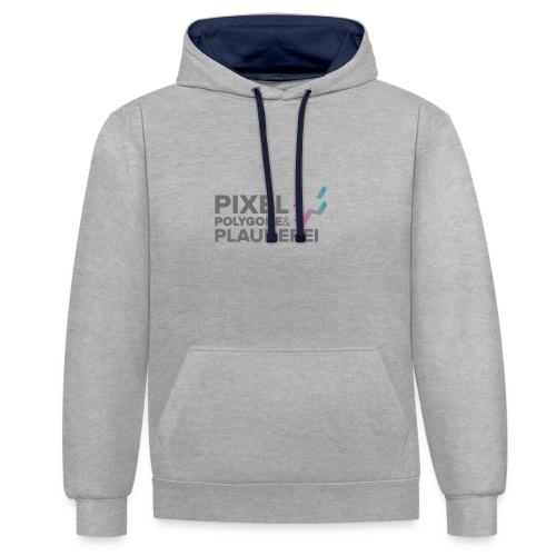 Pixel Polygone Plauderei Logo Grau - Kontrast-Hoodie
