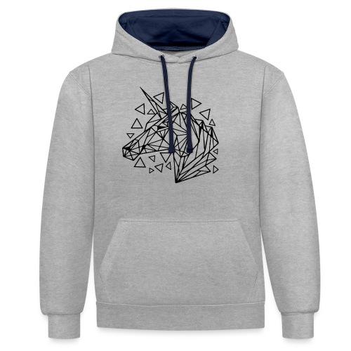 unicornio minimalista - Sudadera con capucha en contraste