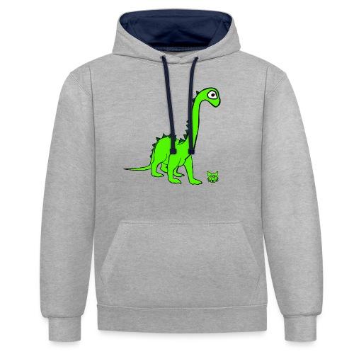 dinosauro - Felpa con cappuccio bicromatica