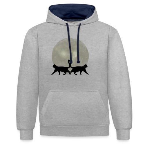 Cats in the moonlight - Contrast hoodie