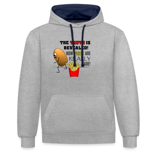 The truth about fries - Kontrast-Hoodie