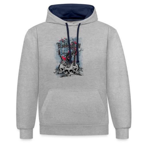 rock n roll skulls - Contrast hoodie