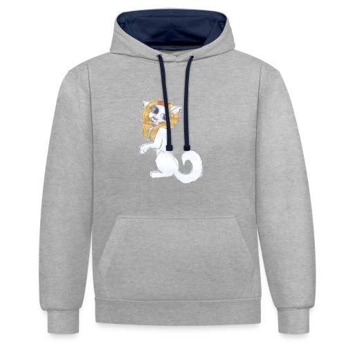Comic Katze - Kontrast-Hoodie