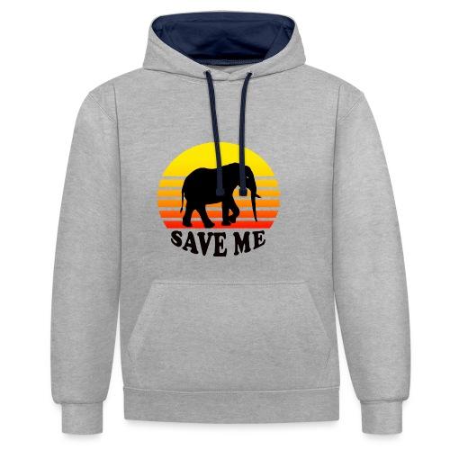 Elefant SAVE ME Schattenriss Sonne - Kontrast-Hoodie