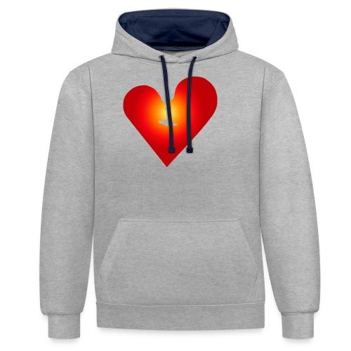 Ein Herz in Liebe - Kontrast-Hoodie