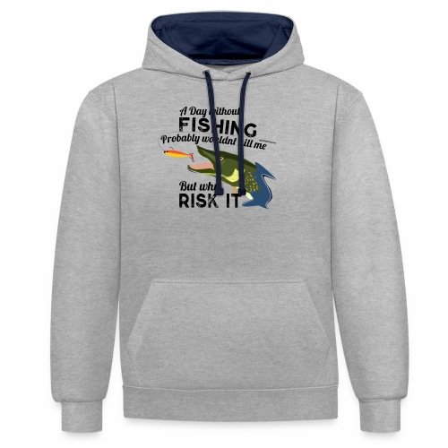 A Day without Fishing Hecht Pike Fishyworm Angel - Kontrast-Hoodie