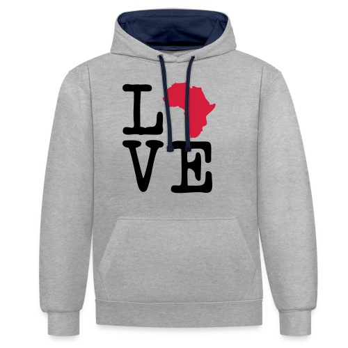 I Love Africa, I Heart Africa - Contrast Colour Hoodie