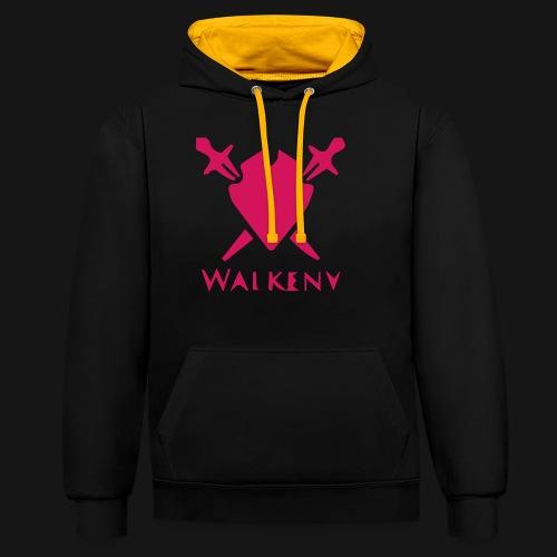 Das Walkeny Logo mit dem Schwert in PINK! - Kontrast-Hoodie