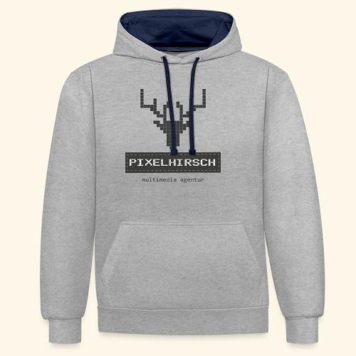 PIXELHIRSCH - grau - Kontrast-Hoodie