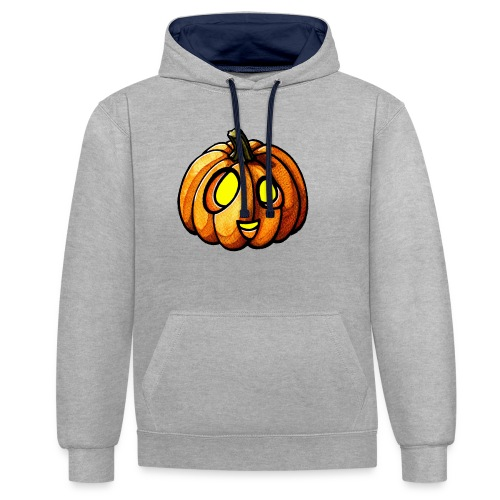 Pumpkin Halloween watercolor scribblesirii - Contrast Colour Hoodie