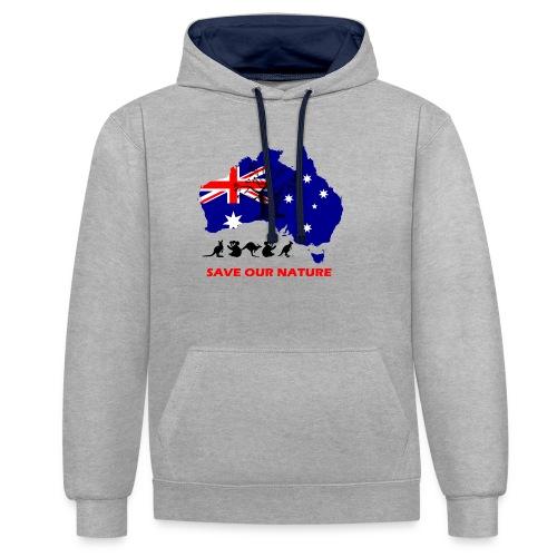Australien - RETTE LEBEN - JETZT! - Kontrast-Hoodie