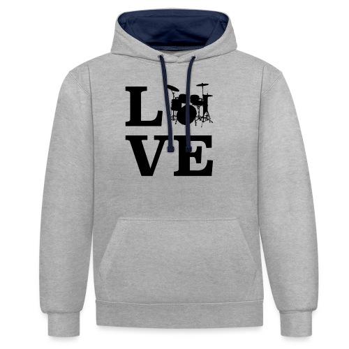 I Love Drums / Schlagzeug T Shirt für Schlagzeuge - Kontrast-Hoodie