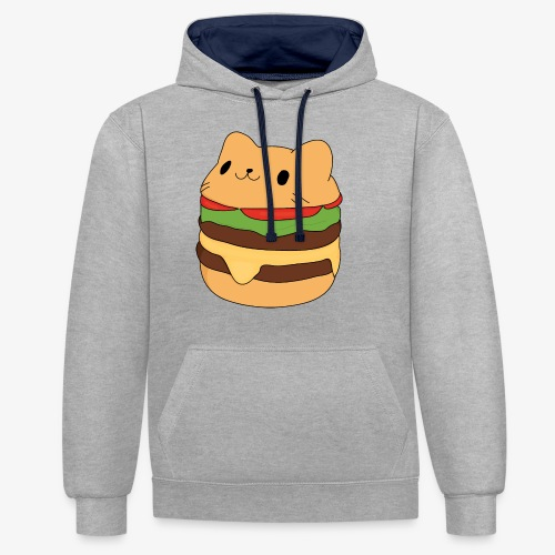 cat burger - Contrast Colour Hoodie