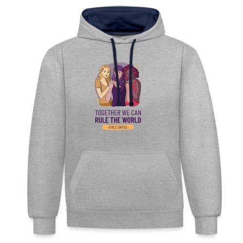t shirt design generator featuring three women - Sudadera con capucha en contraste