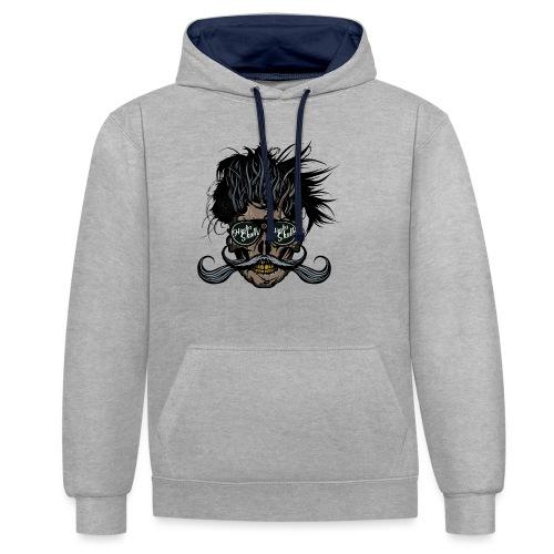 hipster skull tete de mort crane barbu moustache - Sweat-shirt contraste