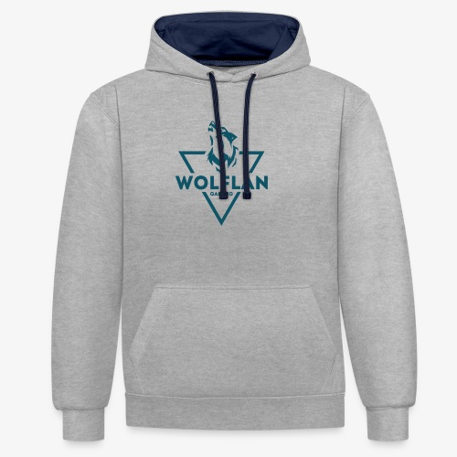 WolfLAN Logo Gray/Blue - Contrast Colour Hoodie