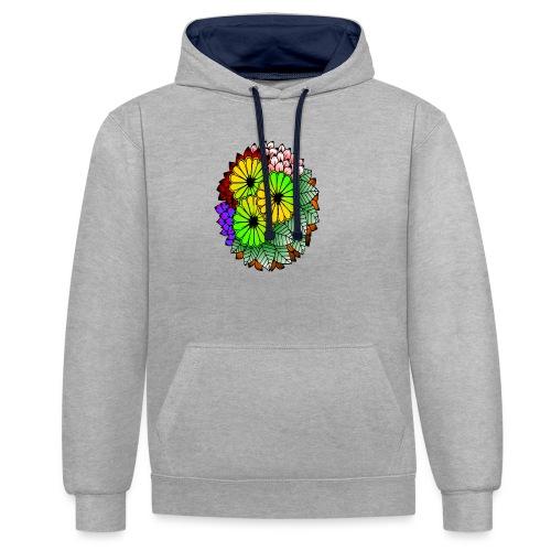 Mandala Blumen Design - Kontrast-Hoodie