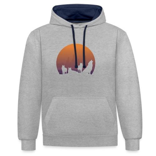 Wolfsrudel - Kontrast-Hoodie