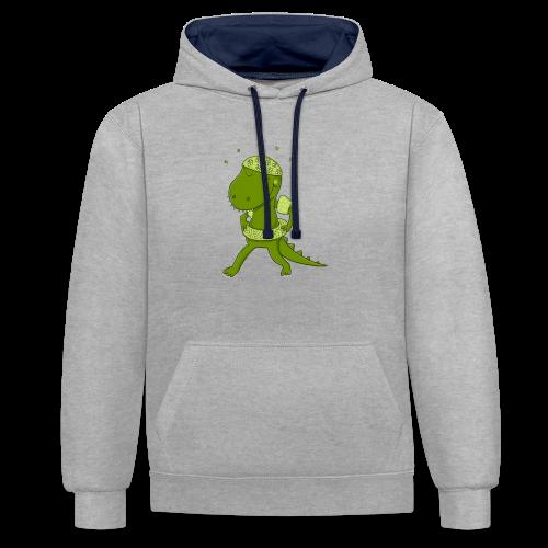 Lustiges Krokodil - Kontrast-Hoodie