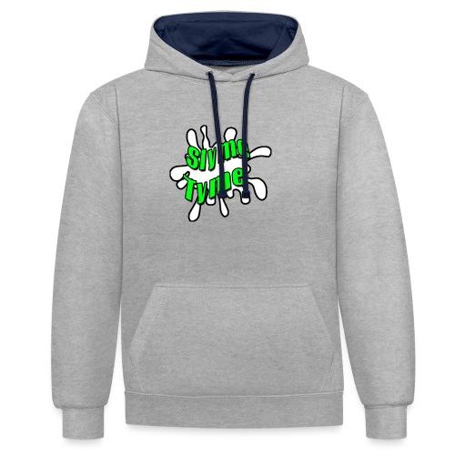 Slyme Tyme Logo / Green To White - Contrast Colour Hoodie