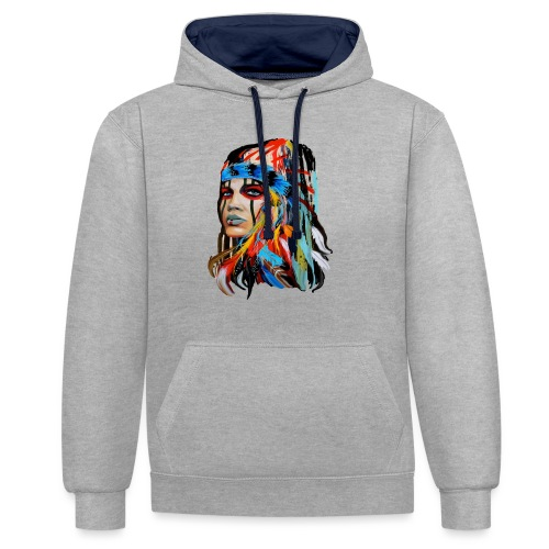 Pióra i pióropusze - Bluza z kapturem z kontrastowymi elementami