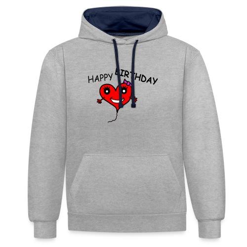 Herz Smiley Geburtstag - Kontrast-Hoodie