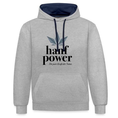 Hanf Power Logo - Kontrast-Hoodie