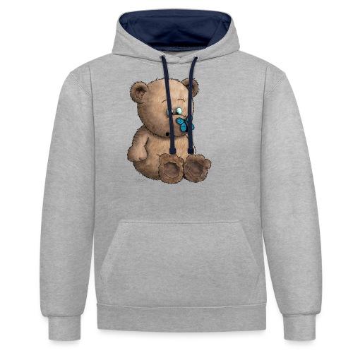Teddybär - Kontrast-Hoodie