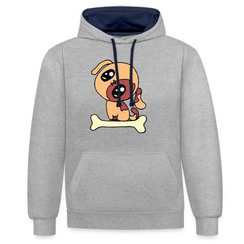 Kawaii le chien mignon - Sweat-shirt contraste