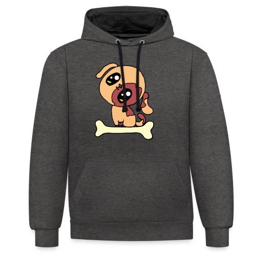 Kawaii le chien mignon - Sweat-shirt contraste