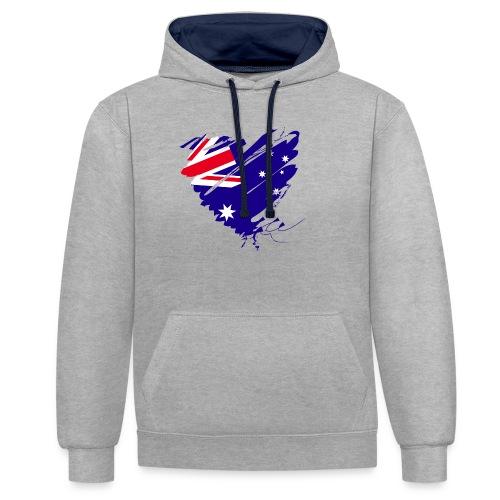 Australien Sydney Kontinent Grunge Herz Fahne - Kontrast-Hoodie