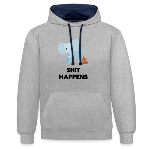 olifant met drol shit happens poep schaamte - Contrast hoodie