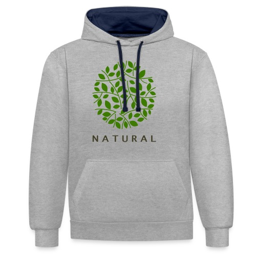natural - Sudadera con capucha en contraste