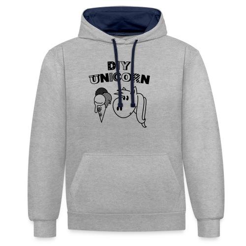 DIY Unicorn Einhorn - Kontrast-Hoodie